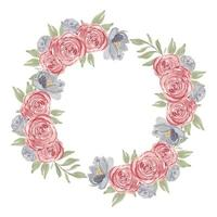 Watercolor pink rose flower circle frame wreath