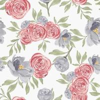 Watercolor rose peony flower seamless pattern vector