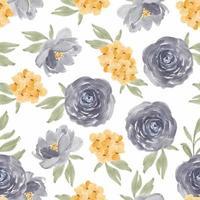 Watercolor purple rose floral seamless pattern