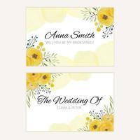 modèle de carte de demoiselle d'honneur aquarelle florale vecteur