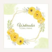 Floral rustic frame with watercolor yellow rose bouquet vector