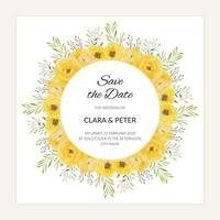 Save the date card with watercolor yellow rose flower frame vector