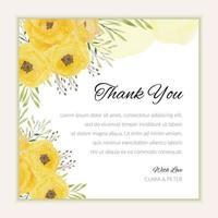 plantilla de tarjeta de agradecimiento con flores amarillas de acuarela vector