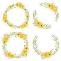 conjunto de quadros de círculo aquarela rosa flor amarela