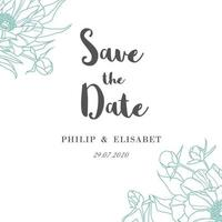 Save The Date Vintage Card with Outline Peonoies