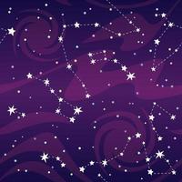 Purple Seamless Pattern of Constellations Stars vector