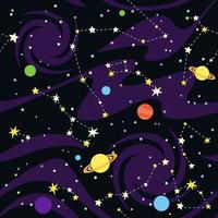 Seamless Pattern of Constellations and Planets vector