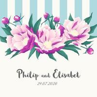 invitación de boda de peonía y rayas vintage