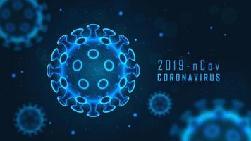 Coronavirus cell structure on blue