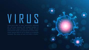 Poster of blue polygon virus cell structures