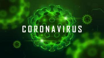 Coronavirus cell structure on green