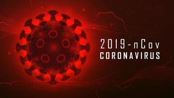 Large red glowing Coronavirus cell vector