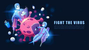 Medical team fighting virus with vaccine and medicine