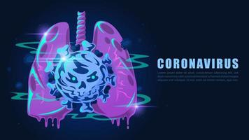 Cartoon style lungs infected by Coronavirus vector