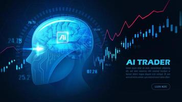 Graphic of artificial intelligence trader head vector