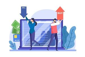 People buying and selling on the stock exchange vector