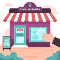 soutenir la conception d'entreprise locale avec boutique et pouce en l'air vecteur