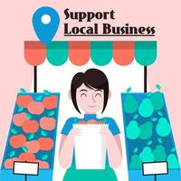 Support local business  design with woman holding bag vector
