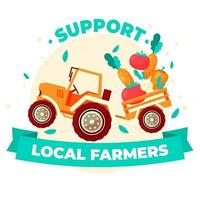 Support local farmers design with farm vehicle vector