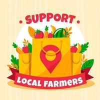 Support local farmers design with food bags vector