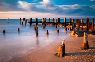Long exposure at sunset of pier pilings, Cape May, NJ