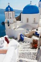 view of caldera with stairs and church, Santorini photo