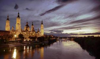 Our Lady of the Pillar Basilica in night view.Zaragoza.Spain