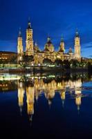 Basilica del Pilar in the evening at sunset. Zaragoza, Spain