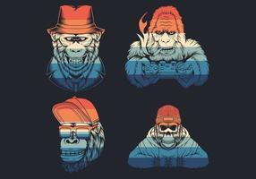 Hipster monkey head logo collection  vector