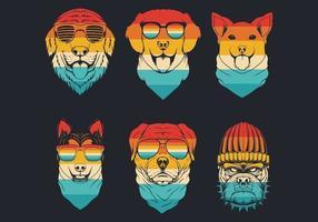 colección de logo de cabeza de perro a rayas retro vector