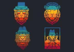 retro gestreepte leeuwenkoppen met hoeden logo collectie