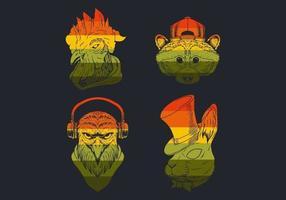 collection de logo rétro tête d'oiseau et d'ours vecteur