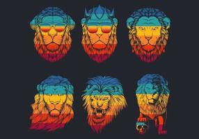 Retro Striped Lion Head Logo Collection  vector