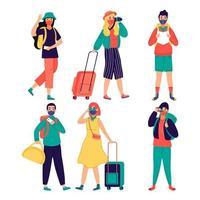 turistas con mascarillas