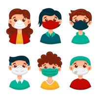 Set of people wearing different face masks vector