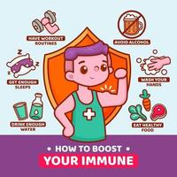 Boost your immune system infographic with strong boy