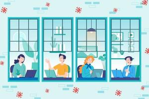 Window view of employees working from home