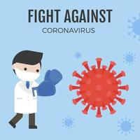 Doctor wearing boxing gloves to fight against Coronavirus