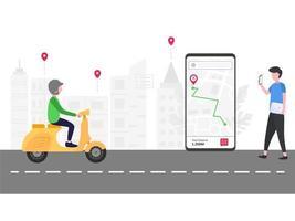 Hombre de seguimiento de transporte en línea en el teléfono inteligente vector