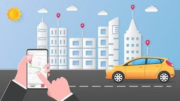 Business man hands tracking online transportation vector