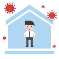Man stays at home prevent Coronavirus vector