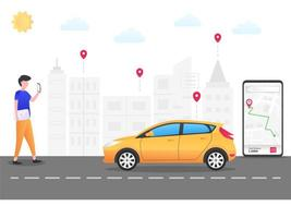 Man ordering transportation with smartphone vector