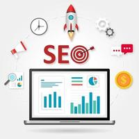 SEO design with rocket and elements around laptop