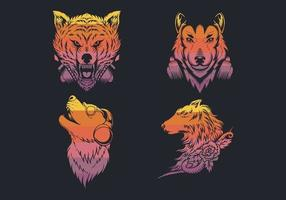 Wolf retro logo collection  vector