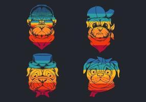 Silly pug dog head retro logo collection  vector