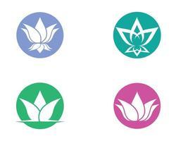 ícones de lótus círculo verde, azul, rosa