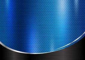 Blue metal grate texture on black brushed metal vector