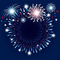 Red, white and blue fireworks on blue vector