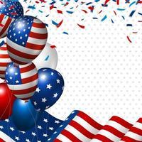 bandera americana y globo con espacio de copia