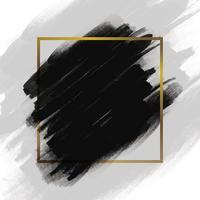 trazo de pincel negro con marco dorado vector